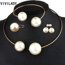 VIVILADY Fashion Jewelry Sets Huge Imitation Pearl Rhinestone Necklace Bangle Earrings Rings Statement Women Vogue Wedding Gifts