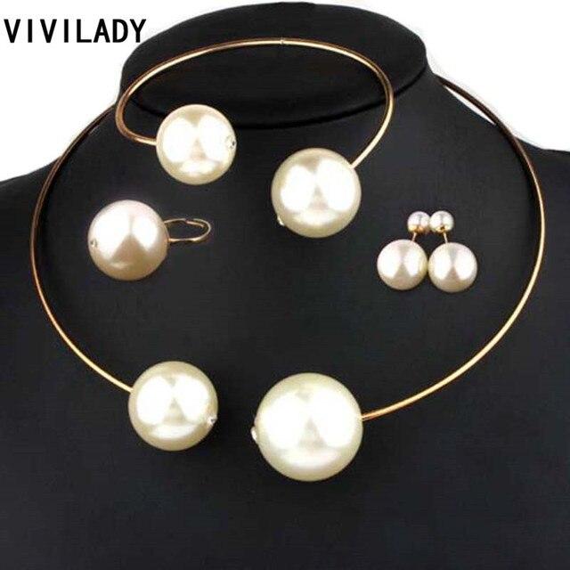 VIVILADY תכשיטים סטי ענק חיקוי פרל ריינסטון שרשרת צמיד עגילי טבעות הצהרת נשים ווג חתונה מתנות