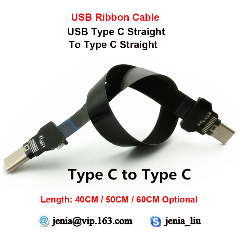 40CM/50CM/60CM Ultra Thin USB Flat ribbon cable Type C Straight male to male Type C Straight FPV Data Cable 40cm 50cm 60cm ultra thin usb flat ribbon cable type c straight to male micro down angle line connector