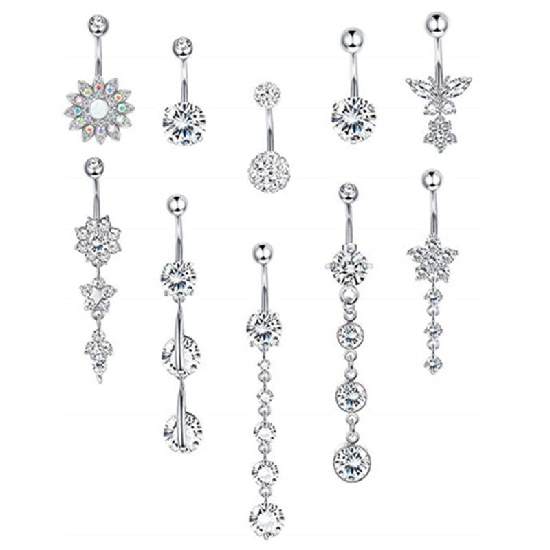 Jewelry Button-Rings Belly-Bar Body-Piercing Butterfly Dangle Sexy Surgical-Steel Waterdrop