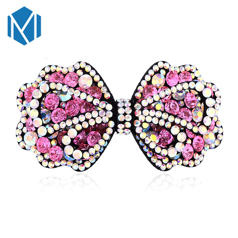 M MISM Elegant Women Hair Jewelry Crystal Rhinestone Bowknot Barrette Girls Clip Clamp Hairpin Bows Accessories - Twinkling store