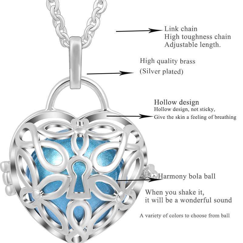 Eudora 18 มิลลิเมตรเงินสี Harmony Bola Ball Love Heart Locket จี้ fit Chime Ball สร้อยคอผู้หญิงเครื่องประดับ k246N18
