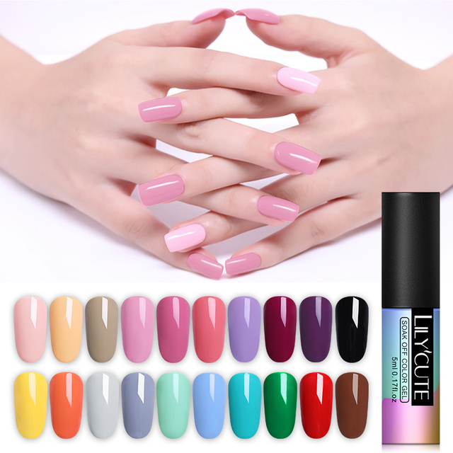 LILYCUTE Nail Art Gel 5ML Pure Color UV LED Gel Nail Polish Long-lasting Macaron Soak off Varnish Gel Lacquer