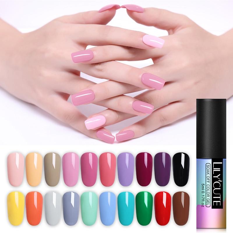 LILYCUTE Nail Art Gel 5ML Pure Color UV LED Gel Nail Polish Long-lasting Macaron Soak off Varnish Gel Lacquer