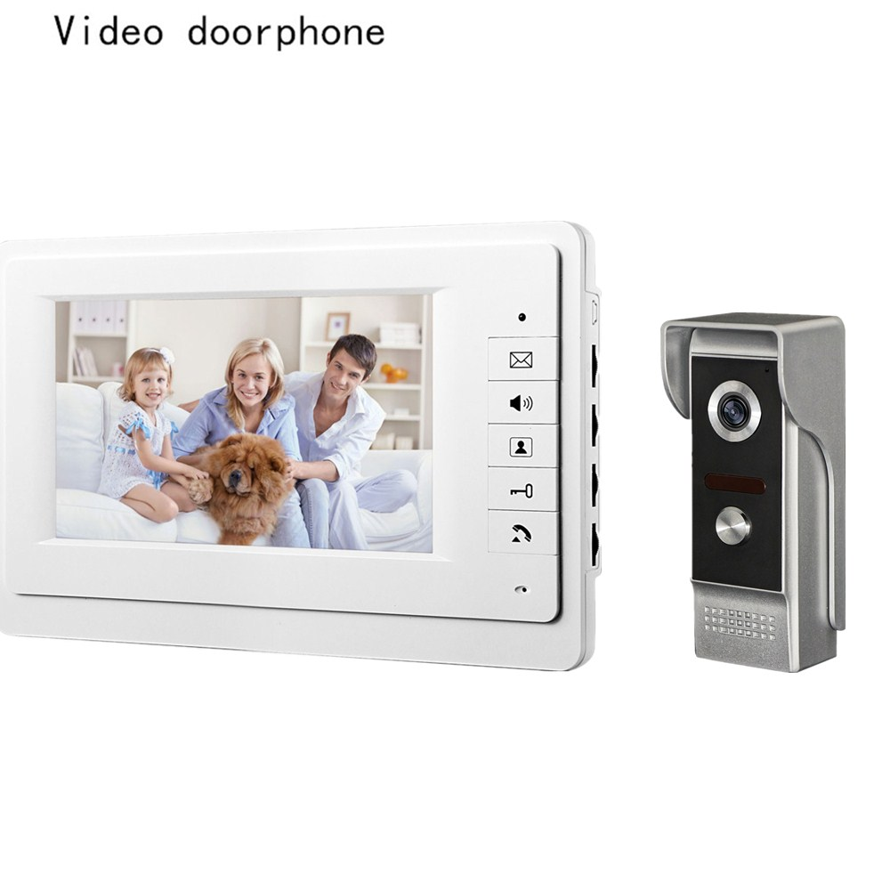 Wired video doorbell intercom system 7 inch high definition color screen and night vision camera video door phone for villa mobile and high definition video streams