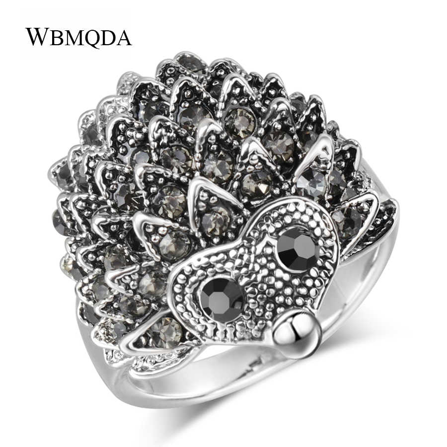 Cute Black Crystal Hedgehog Rings For Women Vintage Antique Silver Animal Biker Ring Men Hip Hop Accessories Fashion Jewelry
