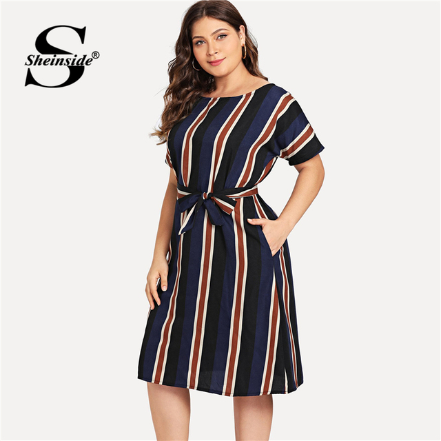 Sheinside Plus Size Colorblock Belt Striped Dress Women A Line Short Sleeve Summer Dresses 2019 Ladies Casual Flared Midi Dress 2