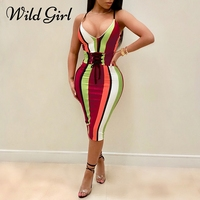 Sexy Stripe Print High Waist Belt Dress Women Bodycon V Neck Lace Up Midi Sundress Summer