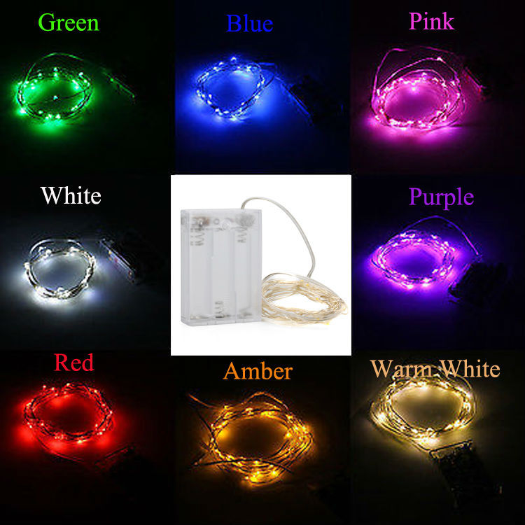 Pink Led Lights White Wire | 20pcs Lot 5m Leds Starry String Lights Outdoor Decorative Lighting