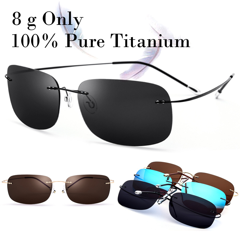 100% Real Titanium 8 g Only Polarized Rimless Square Matrix Sunglasses Men Women With Box Driving Fishing Sun Glasse Oculos New