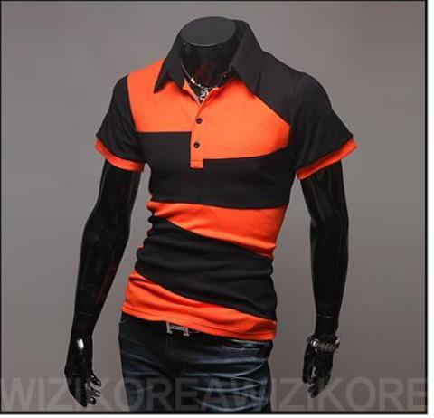 Slim fit black and white color personality new irregular short sleeved POLO Shirt
