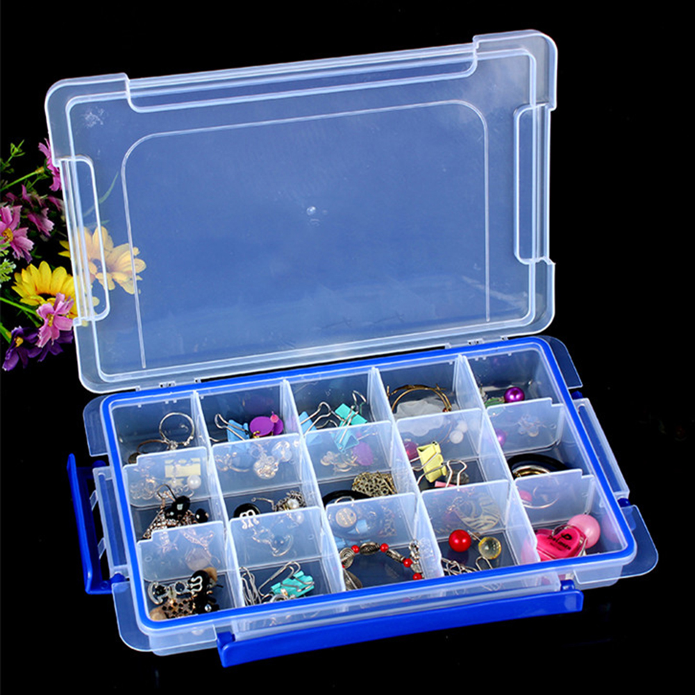 15 Slots Clear Storage Box For Jewelry Organizer 23 x 12 x 3.5cm Plastic Sundries Organization Boxes Home Storage