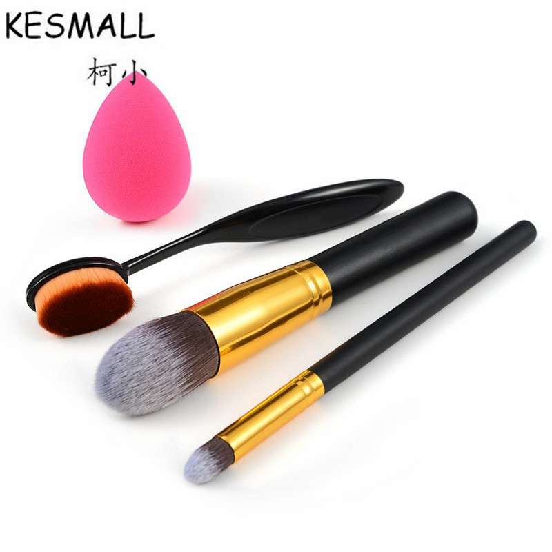 KESMALL 4pcs Makeup Brush Set Cosmetic Puff Toothbrush Shaped Maquiagem Foundation Eyeshadow Lip Brushes Kit Beauty Tools CO524 candy color calabash shaped cosmetic makeup cotton pads sponge puff pink