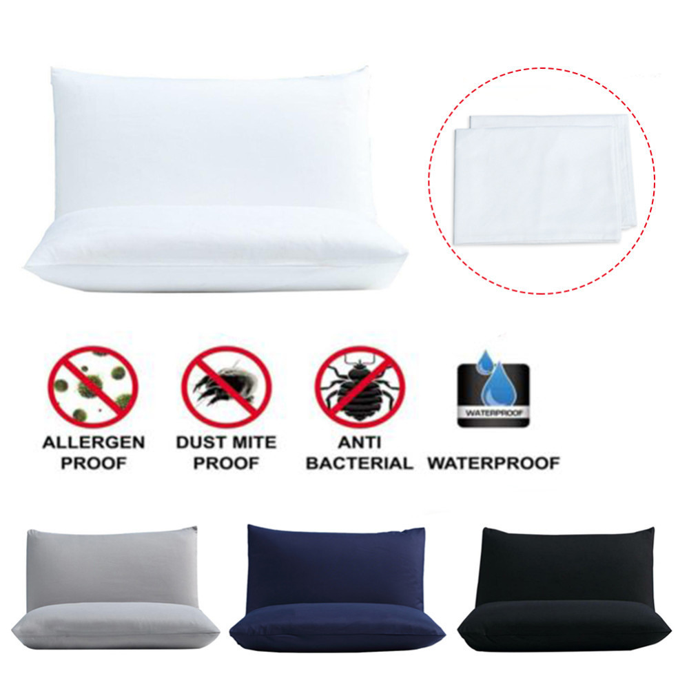 2PC 50X70CM Pillow Cover Waterproof Pillow Protector Anti Mites BedBug Proof Zipper Pillowcover Allergy Pilow Case