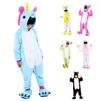 Kids Cosplay Children Unicorn Animal Kigurumi Girls Pajamas Costume Sleepwear Pink Child Plush Unicorn Costume With