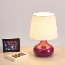 Modern Glass Table Lamp Fabric Lampshade Office Living Room Bedroom Bedside  Light Home Lighting Red Purple Clear E27 110 220V
