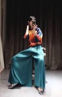 HOT SELLING Miyake fashion summer mid waist solid long wide leg pants full length pants IN STOCK