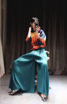 HOT SELLING Miyake fashion summer mid waist solid long   wide     leg     pants   full length   pants   IN STOCK