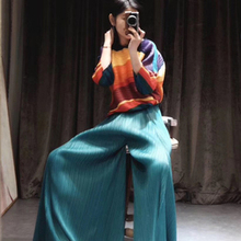 HOT SELLING Miyake fashion summer mid waist solid long wide
