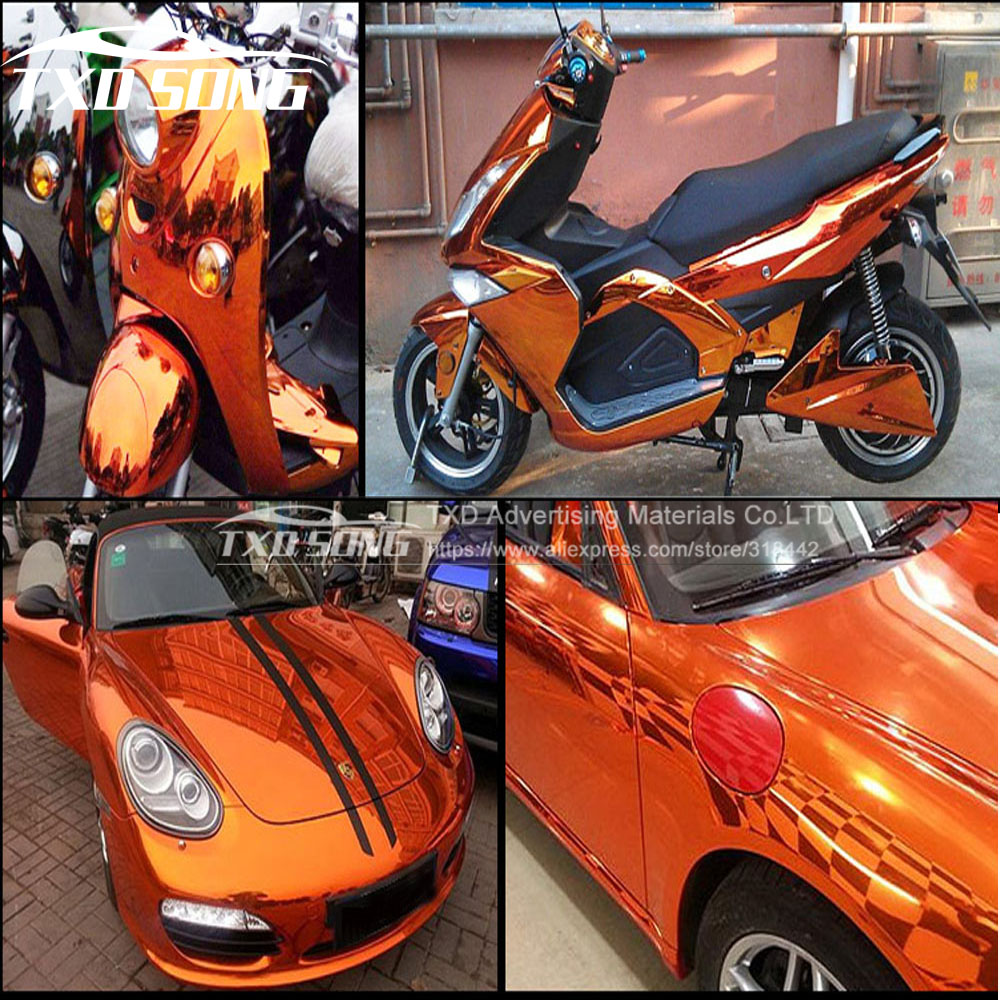 Image 2 - Premium quality High stretchable orange mirror film Chrome Mirror flexible Vinyl Wrap Sheet Roll Film Car Sticker Decal Sheet-in Car Stickers from Automobiles & Motorcycles