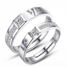 100% 925 sterling silver romantic love letter shiny crystal lovers`couple rings jewelry female men finger open ring gift недорого