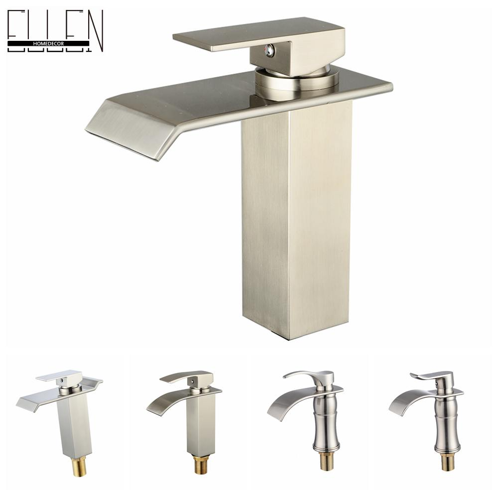 ФОТО Waterfall Sink Square Faucet Temperature Control Bathroom Water Tap Brush Nickel Finish