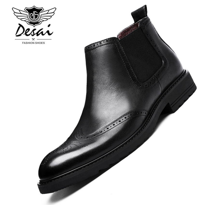 Desai Brand Genuine Leather Boots Bullock Man Pointed Toe Shoes Top Quality British Style Short High