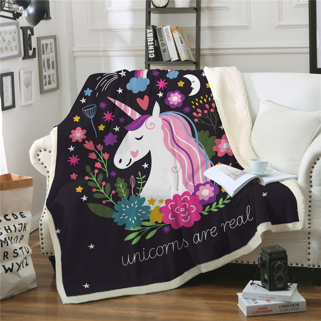 Cartoon Unicorn Velvet Blanket