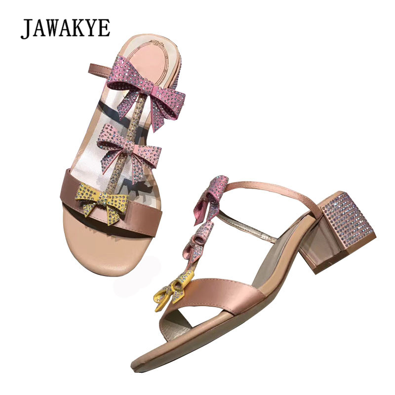 2018 Sweet Rhinestone Satin Gladiator Sandals Woman Open Toe Butterfly knot Ankle Strappy Heel Shoes Women Single Shoes Summer