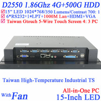 15 Touch all in one computer with high temperature 5 wire Gtouch industrial embedded 4: 3 6COM LPT 4G RAM 500G HDD