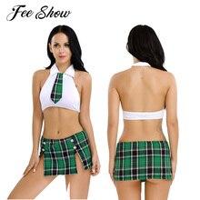 6757069c10 FEESHOW Naughty Women School Girl Student Uniform Cosplay Lingerie Fancy  Underwear