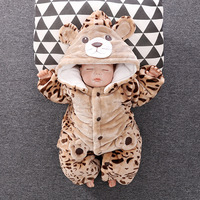 2018 Newborn Cartcoon Jumpsuits Baby gril clothes and Boy clothes Newbron Baby Suit Warm Coat For Kid's Fur Coat Fall and Winter