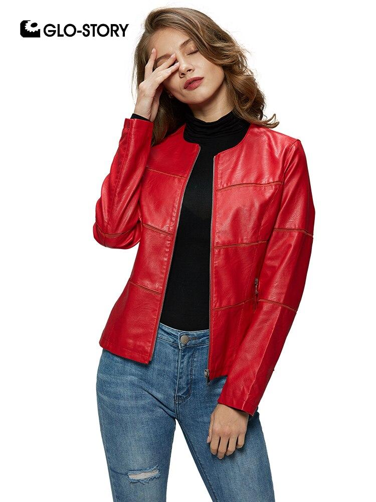 GLO-STORY 2019 Printemps Femmes Poche À Fermeture Éclair Faux Cuir Vestes Moto Style Streetwear Dames Femme Manteaux WPY-7800