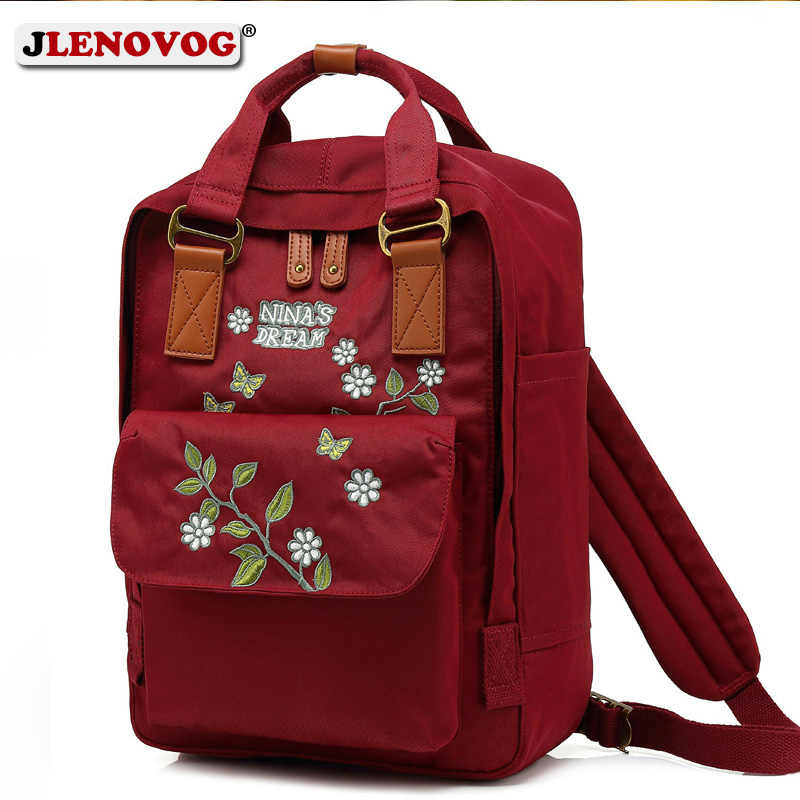 a17d46f739 Girl Froral Embroidery Kanken Backpack Women Classic Designer Medium 14  inch Laptop Bag Fashion Canvas Waterproof