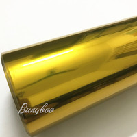 152CMX18M High Stretchable Sticker Car Body Decoration Gold Chrome Vinyl Wrap