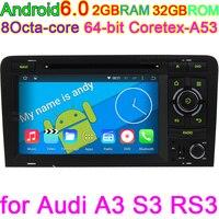 Android 6.0 Araba Akıllı Sistem PC Audi A3 Için DVD GPS 2002-2011 Wifi 4G GPS Navigasyon Ile BT Radyo direksiyon kontrolü