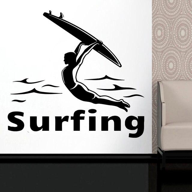 גלישה לוגו ויניל קיר מדבקות קיצוני ספורט חובבי הרפתקאות אוקיינוס חוף ים בית ספר מעונות בית תפאורה מדבקות 2CL15
