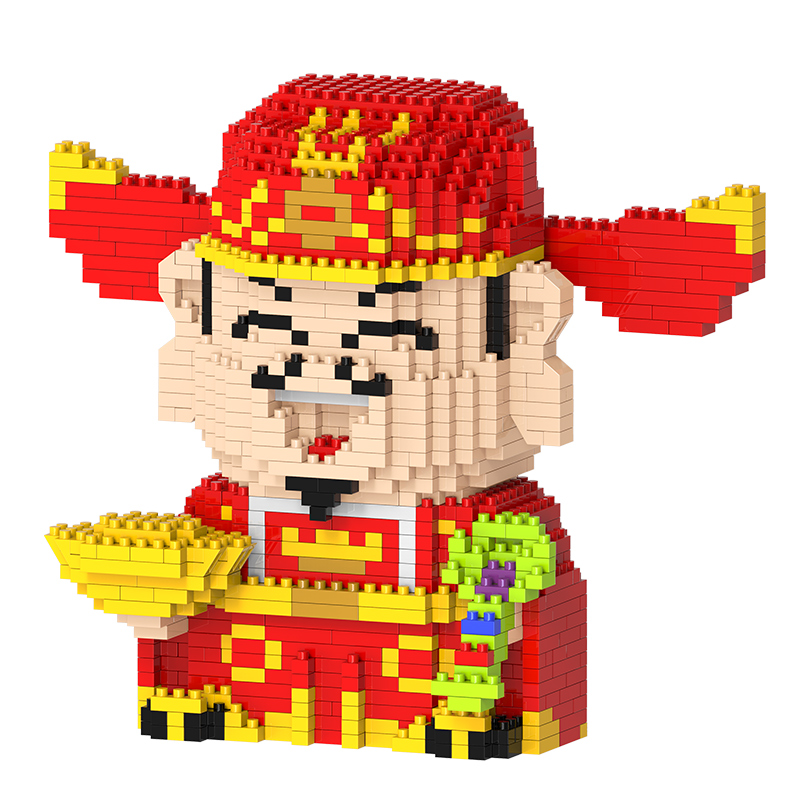 Mini building blocks Chinese Character the God of Wealth Building toys Fortune Cat Model Toys for Adults Gifts wange mechanical application of the crown gear model building blocks for children the pulley scientific learning education toys