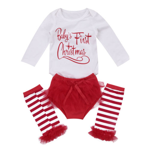 3pcs Set Infant Toddler Baby Boy Girl Clothes Set Tops Romper+Long Socks Christmas Outfits Set Clothes