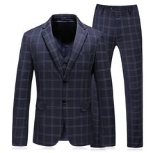 3 Piece Plaid Suit Men 2018 Slim Fit Navy Royal Blue Wedding Suits 5XL fit Designer Business Dress Tuxedo