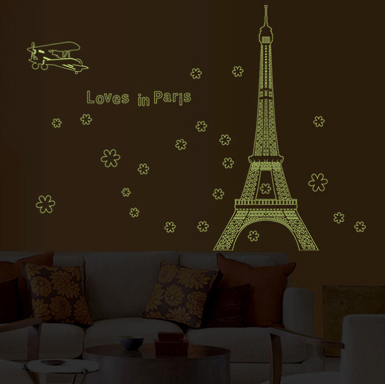 Famous Letter Love In Paris Night Eiffel Tower Decoration Luminous Sticker Wall Home Living Room Decals
