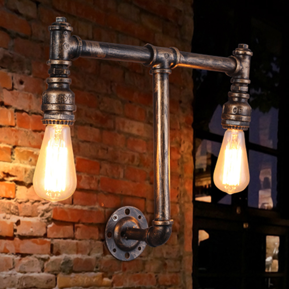 ФОТО E26/E27 Metal Retro Industrial Water Pipes Wall Lamp 2 Head Wall Sconces American Vintage Aisle High Quality