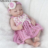 NPKDOLL Mini 10 Inch 25cm Ful Body Silicone Reborn Dolls Clothes Fashion Realistic Girl Doll Toy For Girls Newborn Bebes Reborn