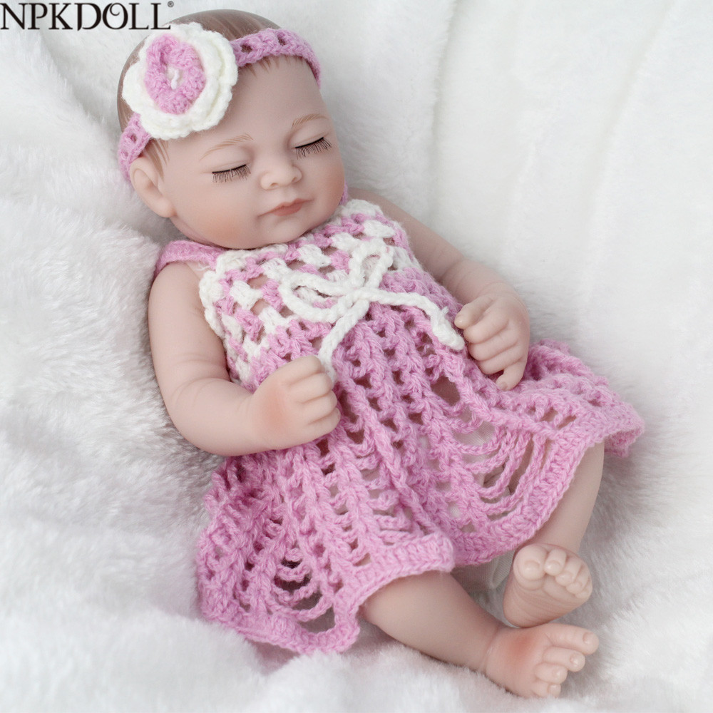 Npkdoll mini 10 Polegada 25cm corpo cheio silicone reborn bonecas roupas moda realista menina boneca brinquedo para meninas recém-nascidos bebes renascer