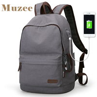 2019 Muzee New Canvas Backpack Anti theft College Students School Backpack USB Charging Design Bags for Teenager Travel Backpack