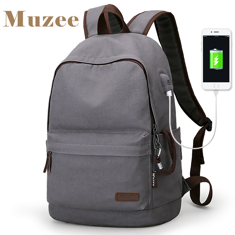2019 Muzee New Canvas Backpack Anti-theft College Students School Backpack USB Charging Design Bags for Teenager Travel Backpack image