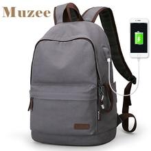 MUZEE ใหม่ผ้าใบกระเป๋าเป้สะพายหลังนักเรียนโรงเรียนกระเป๋าเป้สะพายหลัง USB ชาร์จออกแบบกระเป๋าสำหรับวัยรุ่นกระเป๋าเป้สะพายหลัง