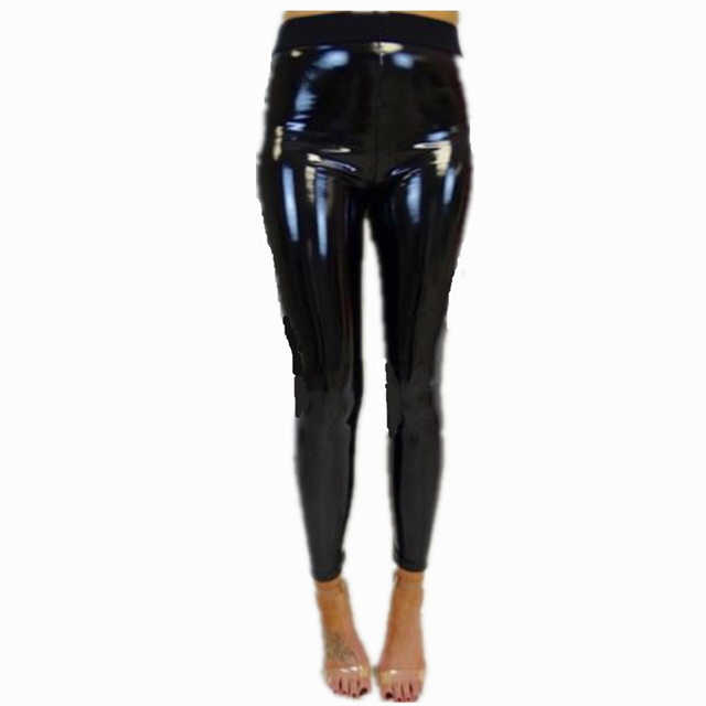 f01129f25aa3df Women Ladies Sexy Black PU Wet Look Faux Leather Stretchy Legging Jeging  Trouser Pants Hot Slae Ladies Slim Fit Pants Plus Size