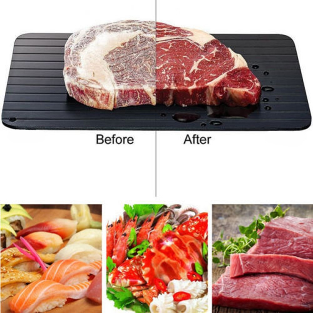Meijuner Cepat Defrosting Tray Mencair Makanan Beku Daging Buah Cepat Pencairan Piring Papan Defrost Dapur Alat title=