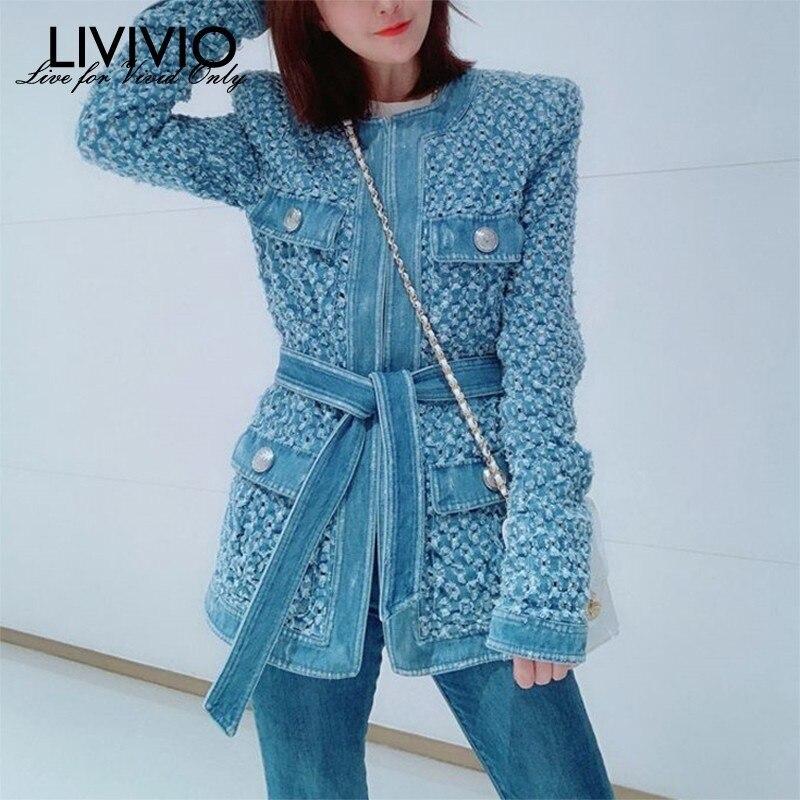 [LIVIVIO] Vintage Blue Denim Jacket With Belt Waisted Ripped Hole Women Coat 2019 Autumn Long Sleeve Pockets Streetwear New